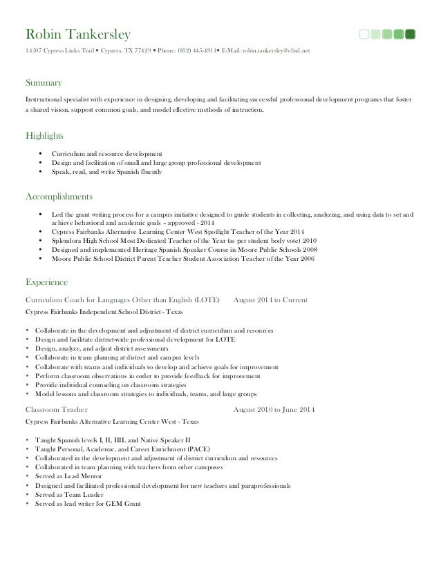 robin tankersley resume