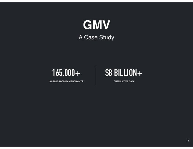 GMV A Case Study 9 165,000+ ACTIVE SHOPIFY MERCHANTS $8 BILLION+ CUMULATIVE GMV