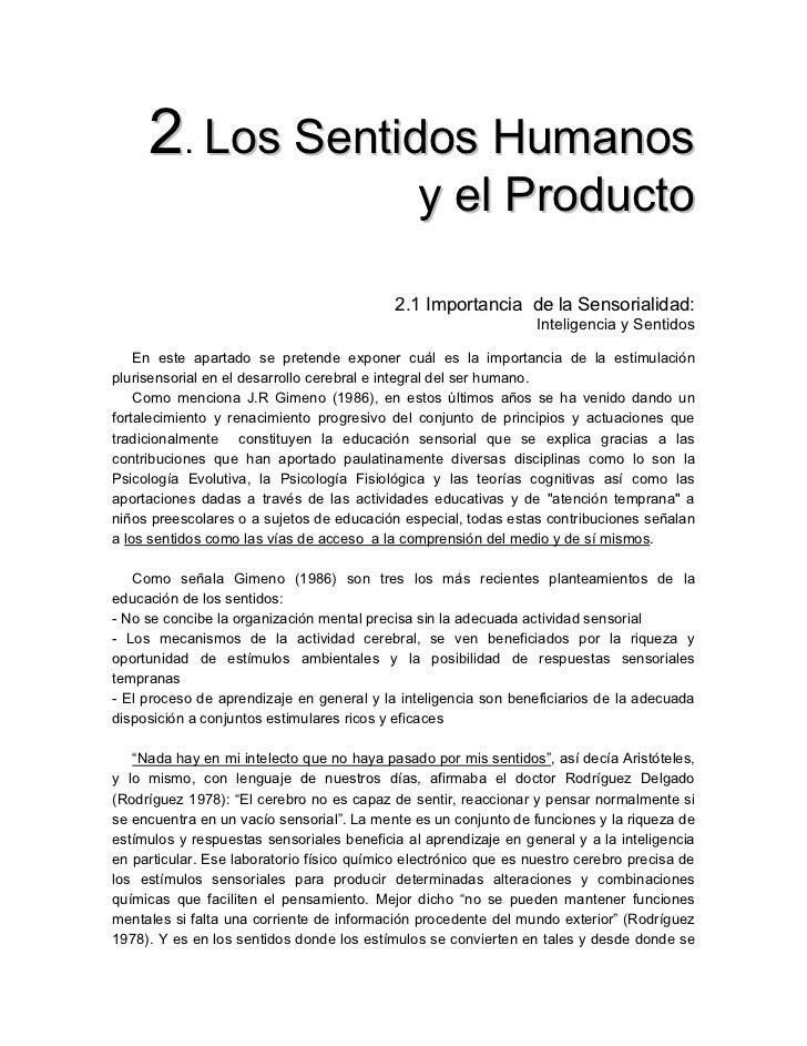 2. Los Sentidos Humanos                                               y el Producto                                       ...