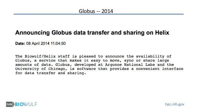 hpc.nih.gov Globus -- 2014