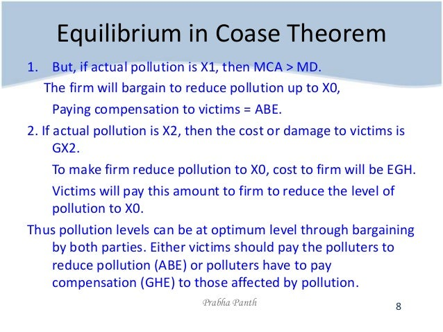 the coase theorem The coase theorem says that in the absence of transaction costs — the costs of identifying potential trading partners, negotiating contracts, monitoring for compliance and so forth — it doesn.