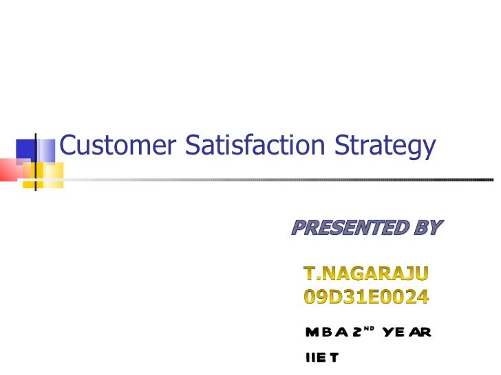 Customer Satisfaction Strategy MBA 2 nd  YEAR IIET