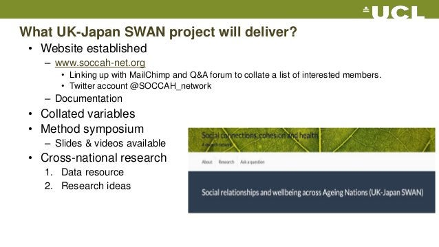 What UK-Japan SWAN project will deliver? • Website established – www.soccah-net.org • Linking up with MailChimp and Q&A fo...