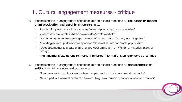 II. Cultural engagement measures Any Engagement* Daily/ Weekly Monthly/ Every few months One off/ Once/ twice a year Mainl...