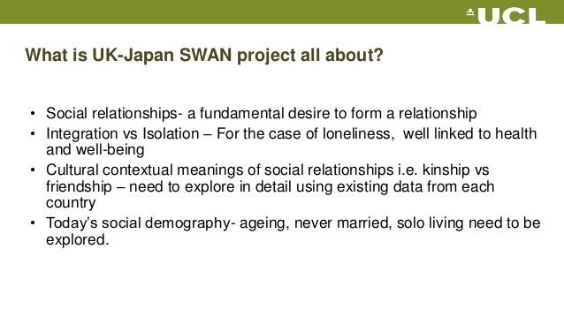 What is UK-Japan SWAN project all about? • Social relationships- a fundamental desire to form a relationship • Integration...