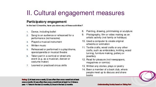 II. Cultural engagement measures Other (receptive?) cultural/heritage engagement Here is a list of types of historical sit...
