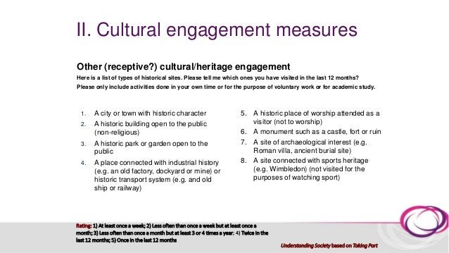 II. Cultural engagement measures - critique 3. Inconsistencies in engagement definitions due to explicit mentions of: the ...