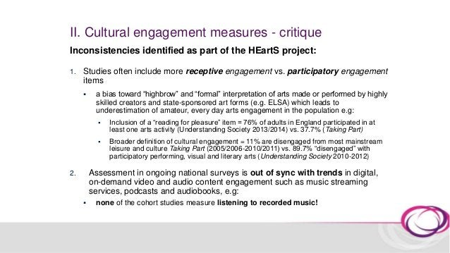 II. Cultural engagement measures Participatory arts engagement 1. Read as a past-time activity 2. Written as a past-time a...