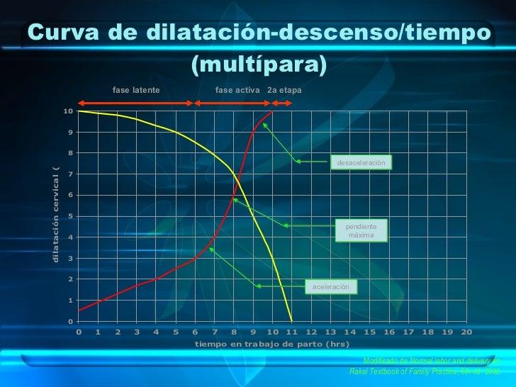 Curva de dilatación-descenso/tiempo (multípara) Modificado de  Normal labor and delivery  en  Rakel Textbook of Family Pra...
