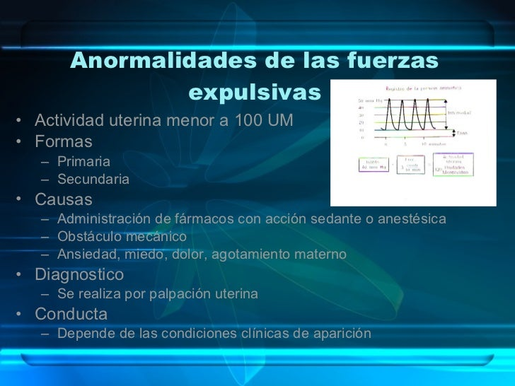 Anormalidades de las fuerzas expulsivas <ul><li>Actividad uterina menor a 100 UM </li></ul><ul><li>Formas </li></ul><ul><u...