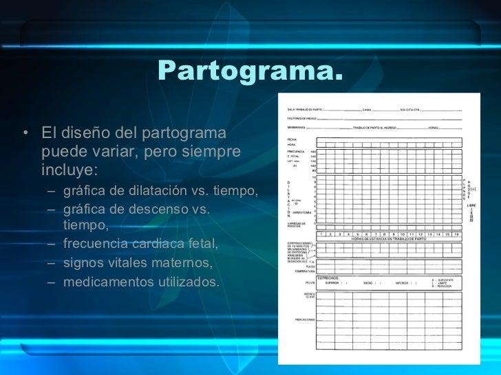 Partograma. <ul><li>El diseño del partograma puede variar, pero siempre incluye: </li></ul><ul><ul><li>gráfica de dilataci...
