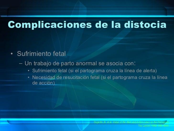 Complicaciones de la distocia <ul><li>Sufrimiento fetal </li></ul><ul><ul><li>Un trabajo de parto anormal se asocia con : ...