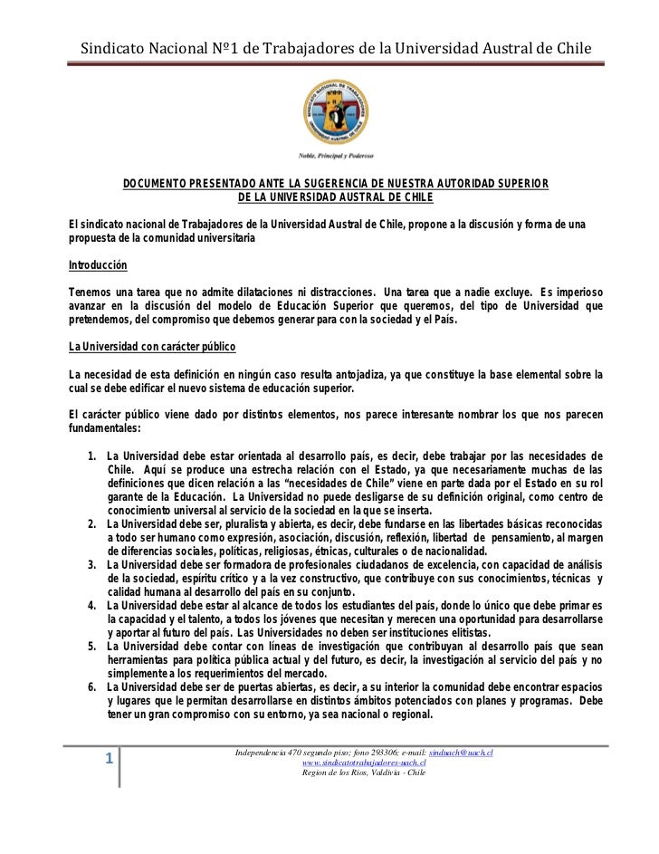 Sindicato Nacional Nº1 de Trabajadores de la Universidad Austral de Chile           DOCUMENTO PRESENTADO ANTE LA SUGERENCI...