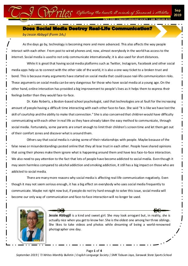 Page 1 of 4 September 2019 | TJ Writes Monthly Bulletin | English Language Society | SMK Tabuan Jaya, Sarawak State Sports...