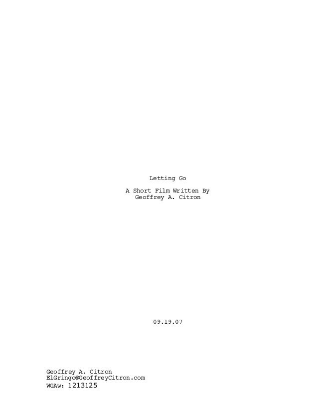Letting Go A Short Film Written By Geoffrey A. Citron 09.19.07 Geoffrey A. Citron ElGringo@GeoffreyCitron.com WGAw: 1213125