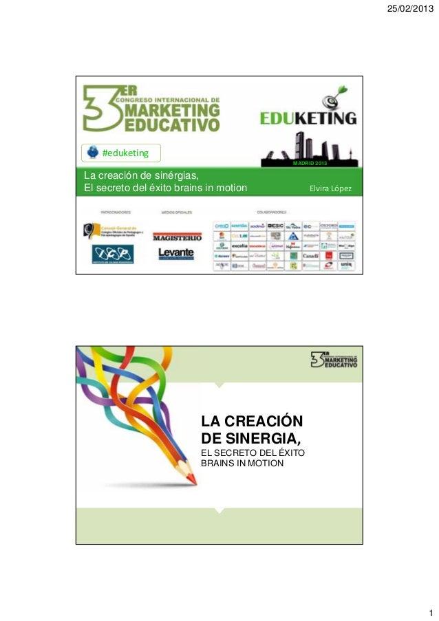 25/02/2013    #eduketing                                           MADRID 2013La creación de sinérgias,El secreto del éxit...