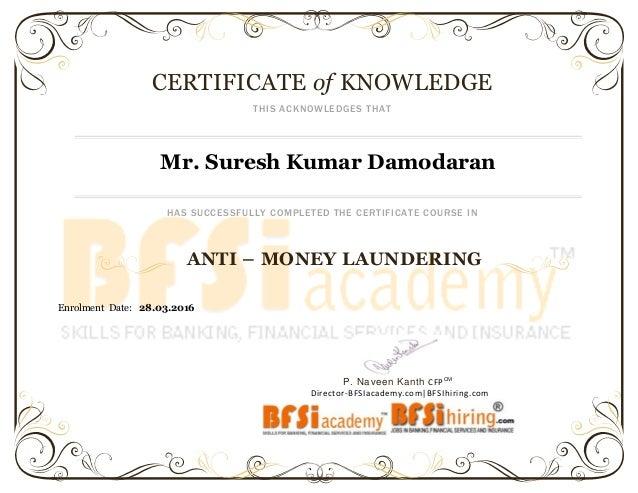 anti money laundering certificate