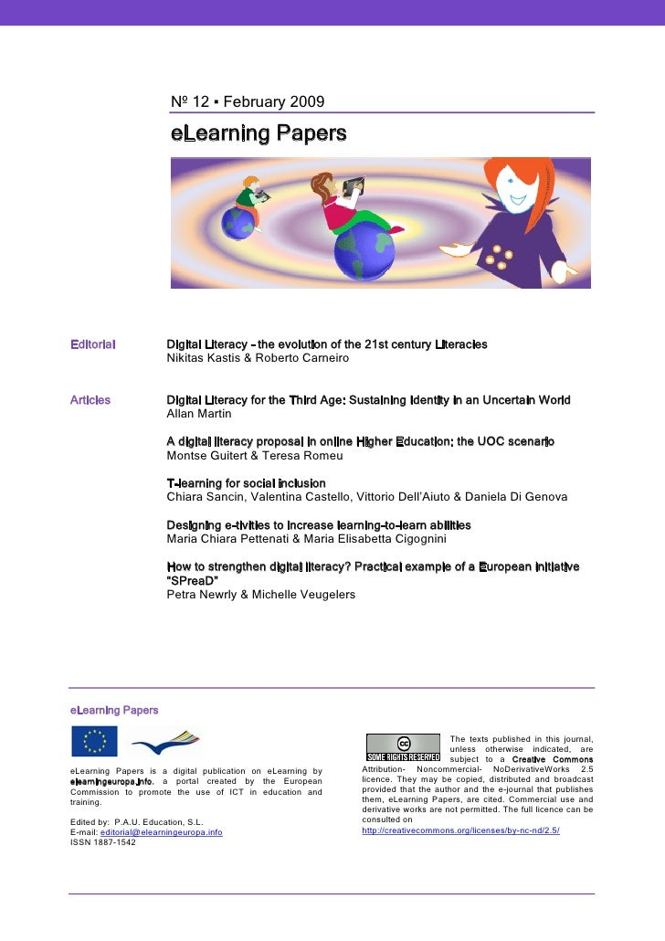 Nº 12 ▪ February 2009                           eLearning Papers     Editorial               Digital Literacy – the evolut...