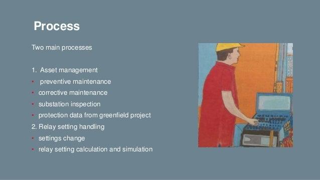 Process Two main processes 1. Asset management • preventive maintenance • corrective maintenance • substation inspection •...