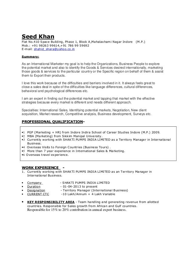 Resume For Sales  Marketing With  Years Exp