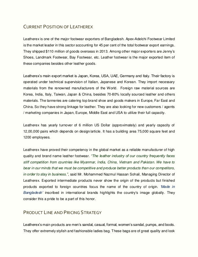 performenced analysis of apex footware bangladesh (yashna) it is the largest exporter of leather footwear from bangladesh6 million   (yashna) 232 integrity honesty 3 swot analysis of apex adelchi footwear   them to achieve high performance standards by treat all people with dignity.