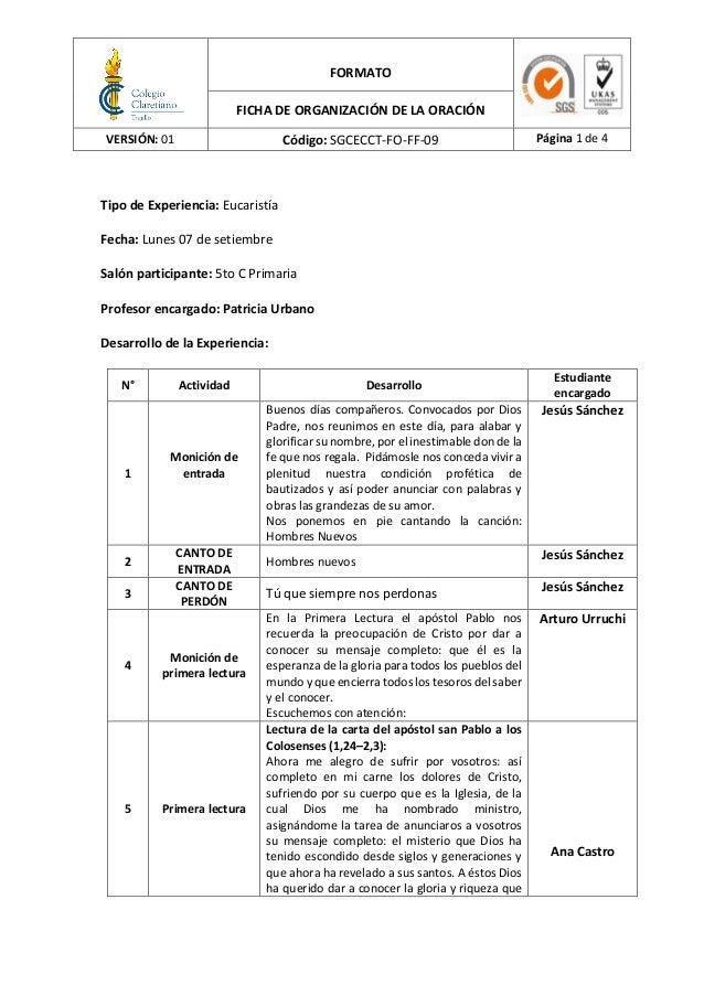 FORMATO FICHA DE ORGANIZACIÓN DE LA ORACIÓN VERSIÓN: 01 Código: SGCECCT-FO-FF-09 Página 1 de 4 Tipo de Experiencia: Eucari...