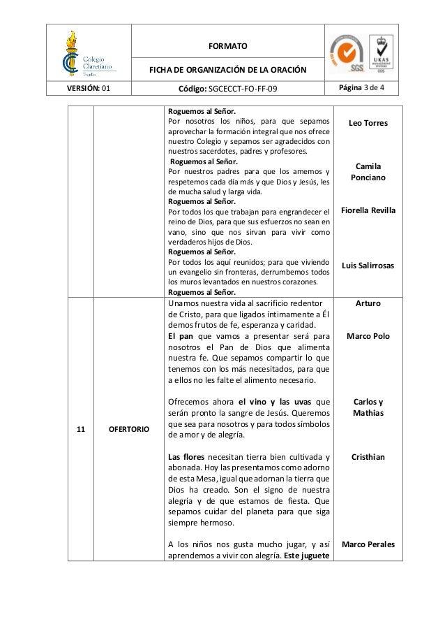 FORMATO FICHA DE ORGANIZACIÓN DE LA ORACIÓN VERSIÓN: 01 Código: SGCECCT-FO-FF-09 Página 3 de 4 Roguemos al Señor. Por noso...