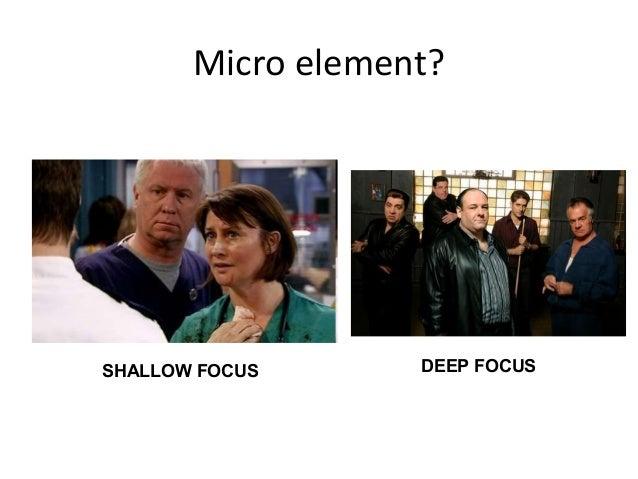 Micro element?SHALLOW FOCUS      DEEP FOCUS