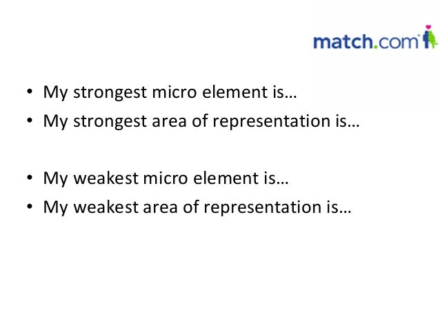 • My strongest micro element is…• My strongest area of representation is…• My weakest micro element is…• My weakest area o...