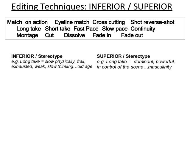 Editing Techniques: INFERIOR / SUPERIORINFERIOR / Stereotype                    SUPERIOR / Stereotypee.g. Long take = slow...