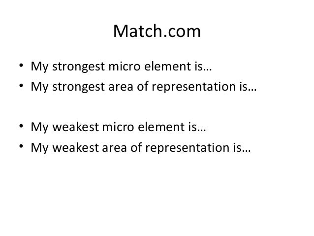 Match.com• My strongest micro element is…• My strongest area of representation is…• My weakest micro element is…• My weake...