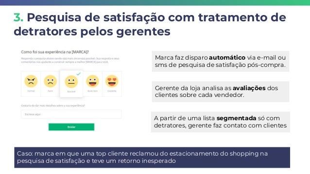 3. Pesquisa de satisfação com tratamento de detratores pelos gerentes Caso: marca em que uma top cliente reclamou do estac...