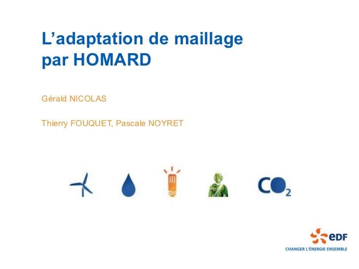 L'adaptation de maillagepar HOMARDGérald NICOLASThierry FOUQUET, Pascale NOYRET
