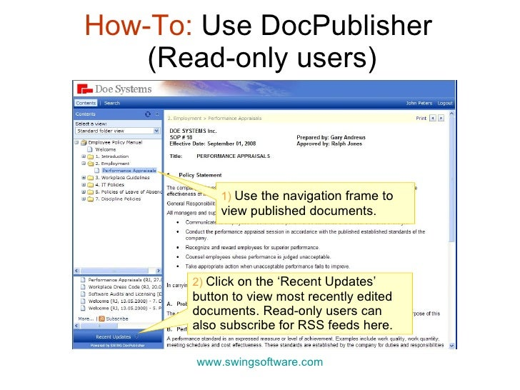 How-To:  Use DocPublisher  (Read-only users) www.swingsoftware.com 1)  Use the navigation frame to view published document...
