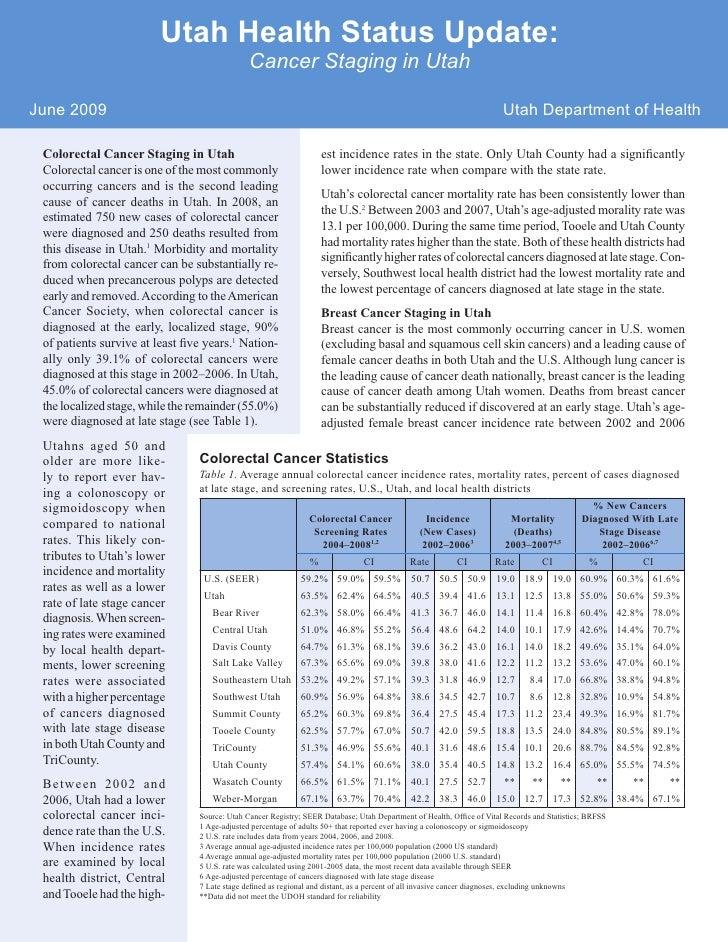Utah Health Status Update:                                                Cancer Staging in Utah  June 2009               ...
