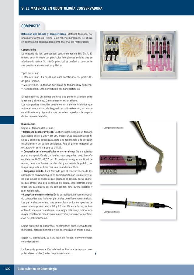 Guía práctica de Odontología120 9. EL MATERIAL EN ODONTOLOGÍA CONSERVADORA COMPOSITE Definición del artículo y característ...