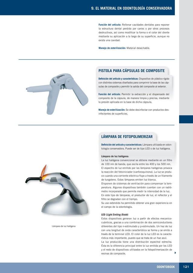 ODONTOBOOK 121 9. EL MATERIAL EN ODONTOLOGÍA CONSERVADORA Función del artículo: Rellenar cavidades dentales para reponer l...