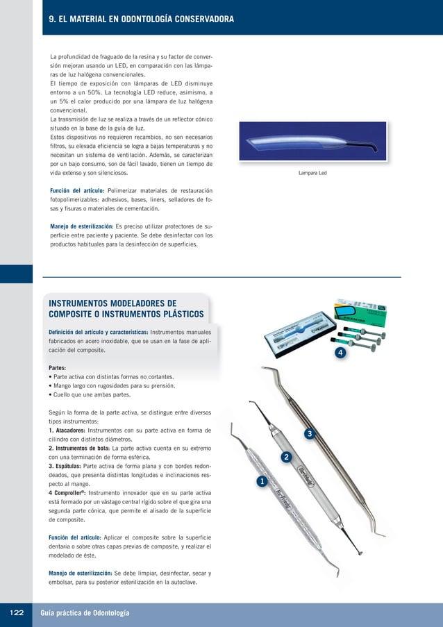Guía práctica de Odontología122 9. EL MATERIAL EN ODONTOLOGÍA CONSERVADORA La profundidad de fraguado de la resina y su fa...