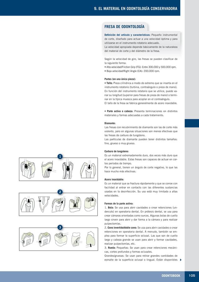 ODONTOBOOK 105 9. EL MATERIAL EN ODONTOLOGÍA CONSERVADORA FRESA DE ODONTOLOGÍA Definición del artículo y características: ...