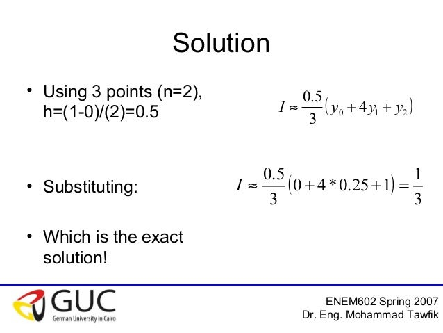 numerical integration coursework Numerical methods coursework informal notes on numerical integration coursework for this piece of coursework students must use the methods for numerical integration they meet in the.
