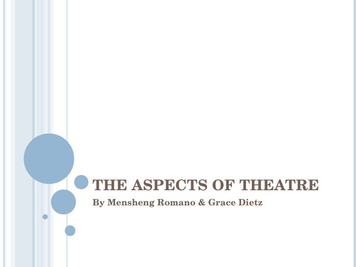 THE ASPECTS OF THEATRE By Mensheng Romano & Grace Dietz