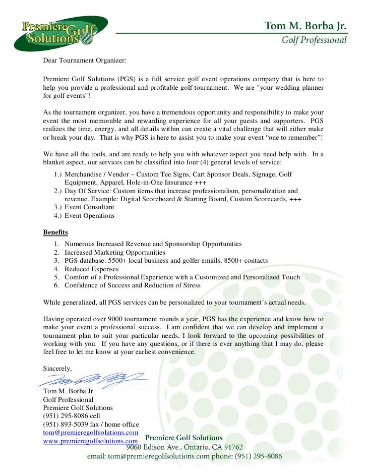 Dear Tournament Organizer:  Premiere Golf Solutions (PGS) is a full service golf event operations company that is here to ...
