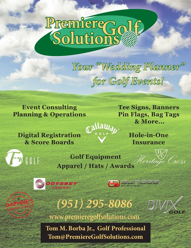 """Your """"Wedding Planner""""                       for Golf Events!     Event Consulting               Tee Signs, Banners Planni..."""
