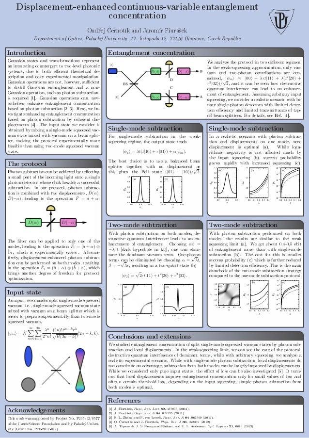 Displacement-enhanced continuous-variable entanglement concentration Ond°ej ƒernotík and Jaromír Fiurá²ek Department of Op...
