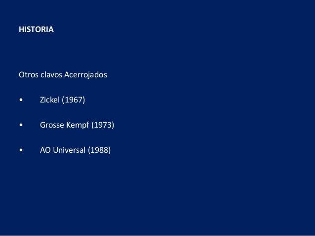 Otros clavos Acerrojados • Zickel (1967) • Grosse Kempf (1973) • AO Universal (1988) HISTORIA