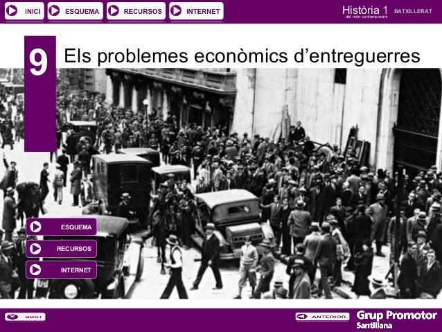 Història 1 del món contemporani  9  BATXILLERAT  Els problemes econòmics d'entreguerres  ESQUEMA RECURSOS INTERNET