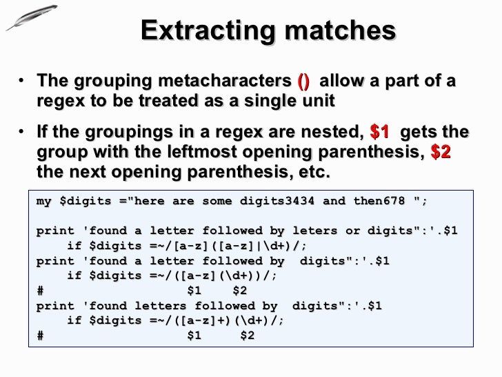 Working with text, Regular expressions
