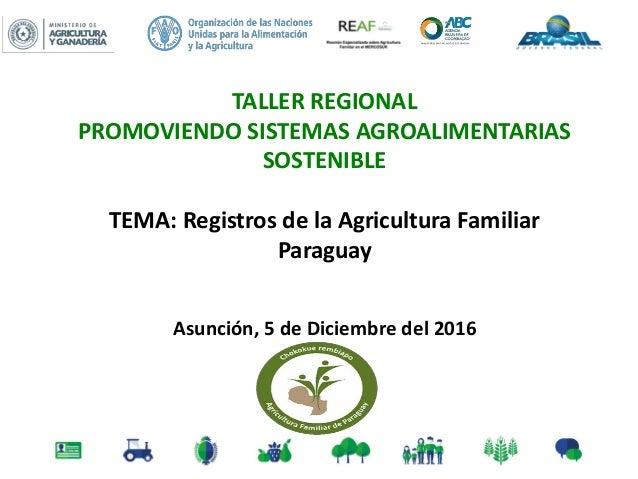 TALLER REGIONAL PROMOVIENDO SISTEMAS AGROALIMENTARIAS SOSTENIBLE TEMA: Registros de la Agricultura Familiar Paraguay Asunc...