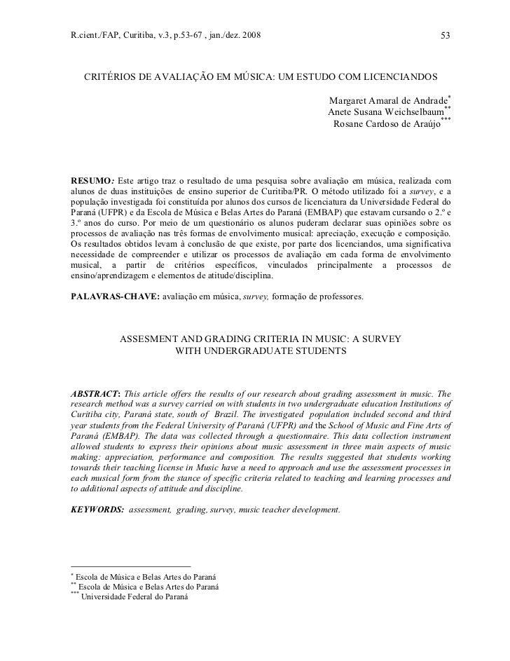 R.cient./FAP, Curitiba, v.3, p.53-67 , jan./dez. 2008                                              53     CRITÉRIOS DE AVA...