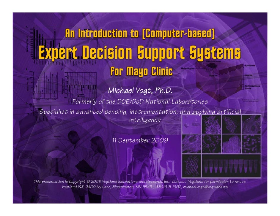 Sep2009 Introduction to Medical Expert Decision Support